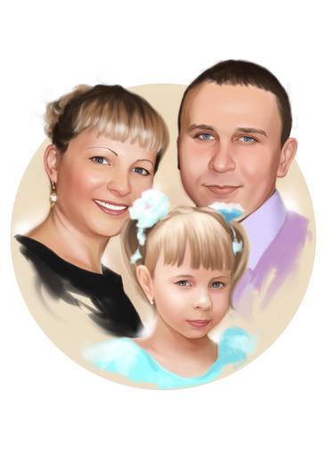 Семейный портрет по фото на холсте в Курске — правильный подарок!