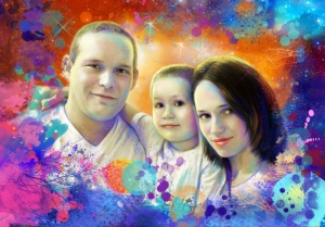 семейный портрет по фото на холсте