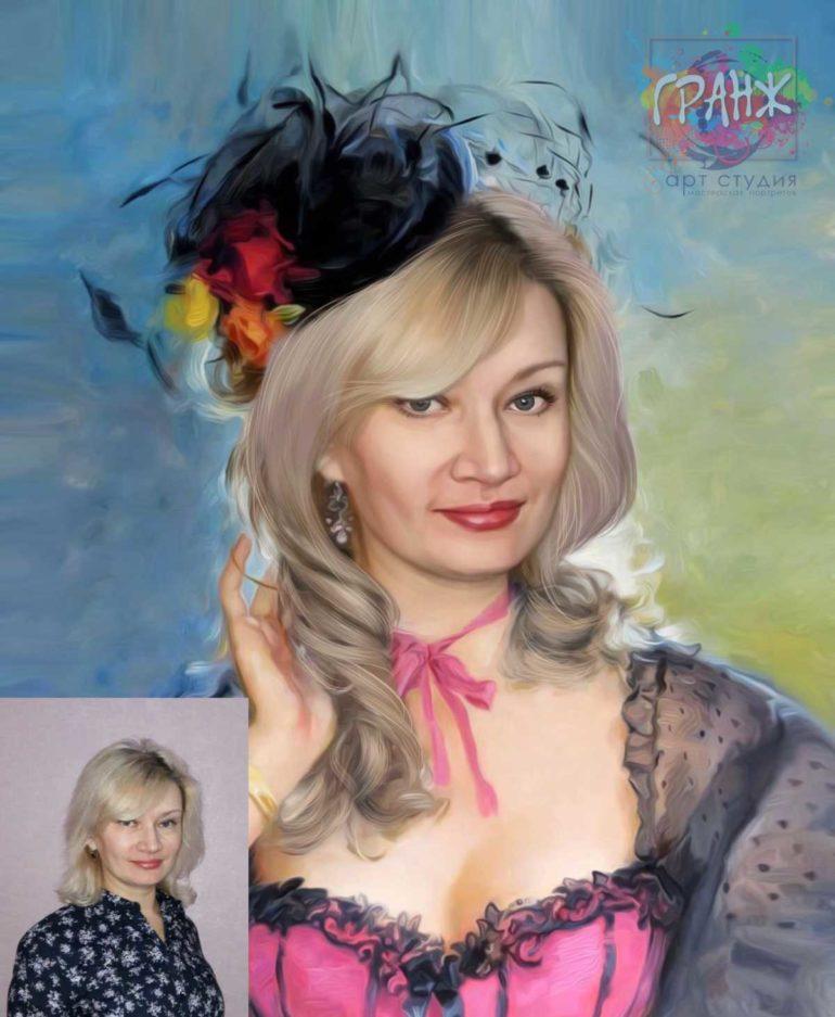 Заказать арт портрет по фото на холсте в Курске